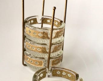 Swanky Vintage Ashtray Set with Caddy