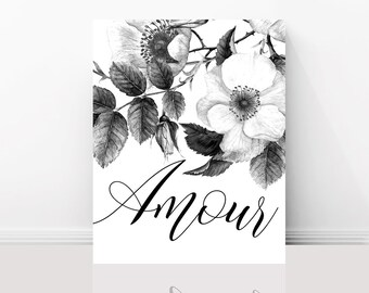 Paris Art Print -  Amour, Love, Inspirational French Quote, Black and White Graphic Print, Gallery Wall, Home Decor, Large Wall Art
