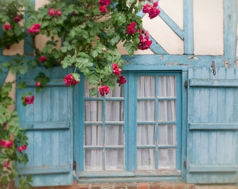 French Country Photo - Blue Shutters and Roses on Cottage Window, Picardy, France, Home Decor