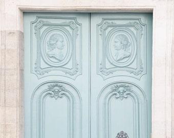 Paris Photography - Mint Door in the Marais, Paris Fine Art Photograph, French Travel Home Decor, Architecture, Large Wall Art