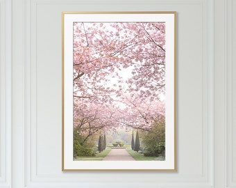 London Photography - The Broad Walk, Vertical England Travel Photo, Cherry Blossoms, Large Wall Art, Home Decor