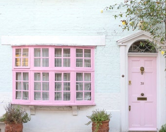 London Photography - The Pink Door, London, Pastel Houses, England Travel Photo, Large Wall Art, Home Decor