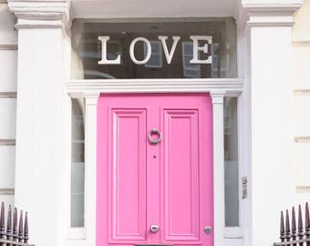 London Photography - The Love Door, London, Pink Pastel Houses, London, England Travel Photo, Large Wall Art, Home Decor