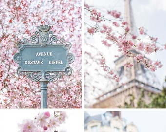 Paris Fine Art Photography Collection – Paris in Blossom Print Set, Eiffel Tower, Cherry Blossoms, Gallery Wall, Paris Art, Large Wall Art