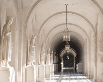 Paris Photography - Hallway in the Palace of Versailles Neutral Home Decor, Chandeliers, Travel Photograph, French Wall Decor