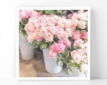 Paris Photography - Roses in Zinc Buckets, 5x5 Paris Fine Art Photograph, French Home Decor, Wall Art, Paris Gallery Wall