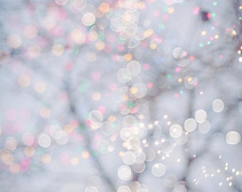 Winter Photography - Fairy Lights, Festive Winter Scene, Fine Art Landscape Photograph, Large Wall Art