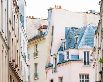 Paris Photography - Pink Apartment, Paris Architecture, Urban Decor, French Decor, Large Wall Art