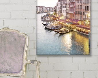 Venice Photo on Canvas, Sunset at the Rialto, Venice, Italy Fine Art Gallery Wrapped Canvas, Large Wall Art