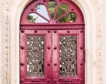 Paris Photography - Cherry Pink Door, Fine Art Travel Photography, French Home Decor, Large Wall Art