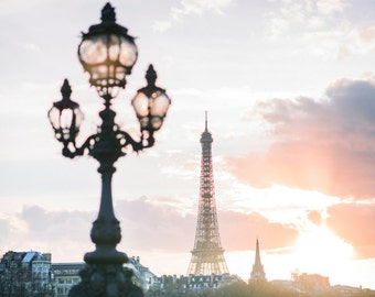 Paris Photography - Sunset on Pont Alexandre III, Eiffel Tower Paris Fine Art Photograph, Large Wall Art, French Home Decor