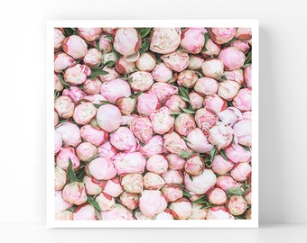 Paris Photography - Stacked Peonies at Market, 5x5 Paris Fine Art Photograph, French Home Decor, Wall Art, Gallery Wall