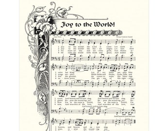 JOY To The WORLD- Christian Home & Office Decor- Christmas Carol Wall Art- Antique Hymn VintageVerses Holiday Sheet Music Isaac Watts Handel