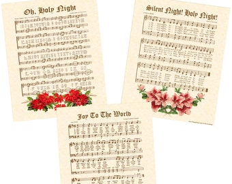 SALE --- 3 For 25 DOLLARS --- Limited 8x10 Antique Christmas Carol Hymn Wall Art Prints With Color Vintage Art Vintage Verses Sheet Music