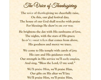 The Voice Of Thanksgiving by Eliza E Hewitt Home & Office Decor Calligraphy Wall Art Vintage Verses Antique Poem Lyrics Faith Inspirational