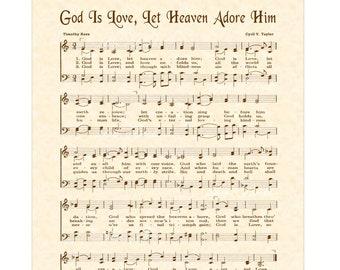 God Is Love Let Heaven Adore Him - Christian Home & Office Decor - Sheet Music Art - Hymn On Parchment- Vintage Verses Gospel Music Wall Art