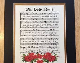 Oh HOLY NIGHT - Matted Christmas Carol Wall Art Christian Holiday Home Office Decor Vintage Verses Sheet Music Wall Art Inspirational Hymn