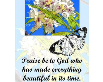 EVERYTHING BEAUTIFUL In Its TIME - Ecclesiastes 3:11a Christian Home Or Office Decor Scripture Photo Wall Art Butterfly Vintage Verses Sale