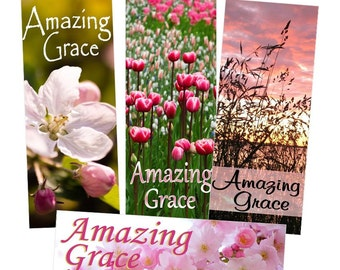 Amazing Grace Set Of 4 VintageVerses Hymn Bookmarks DIY Download Print It Yourself Card Insert Gift Pink Womens Ministry Christian Hand Out