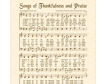 Songs Of Thankfulness And Praise - Christian Home Or Office Decor- Sheet Music Wall Art- Holiday Wall Art- Vintage Verses- Hymn On Parchment