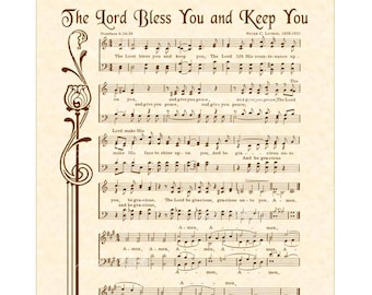 The LORD Bless You And Keep You - Hymn Wall Art Custom Christian Home Decor VintageVerses Sheet Music Inspirational Wall Art Numbers 6:24-26