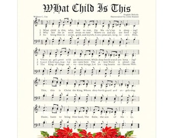 WHAT CHILD is This aka GREENSLEEVES - Christian Home & Office Decor - Christmas Carol Wall Art- Holiday Wall Art- Vintage Verses Sheet Music
