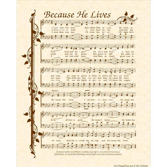Full Theme Sheet Music Theoffice Us: BECAUSE HE LIVES Christian Home & Office Decor Hymn Wall
