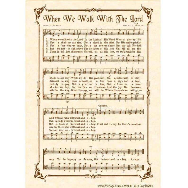 WHEN We WALK With The LORD aka Trust & Obey - Hymn Wall Art - Custom  Christian Home Decor- VintageVerses Sheet Music- Inspirational Wall Art