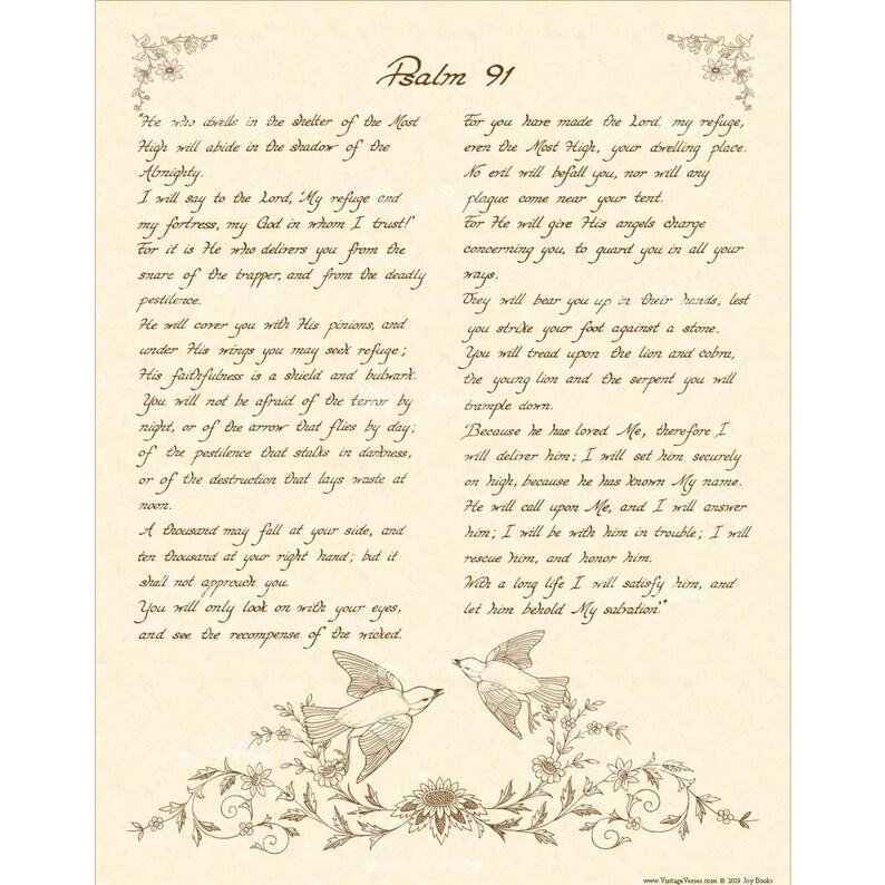 PSALM 91 - 11X14 Hand Written Calligraphy Wall Art Print Christian Home &  Office Decor Bible Verse Wall Art Blue Birds Parchment