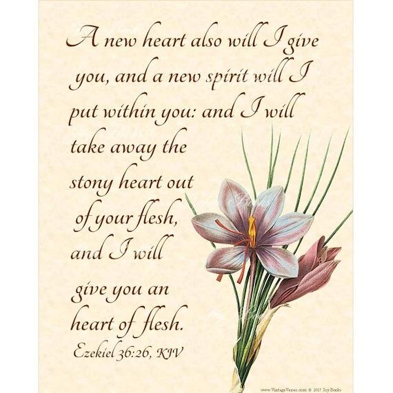 Merveilleux A NEW HEART Ezekiel 36:26 Christian Home U0026 Office Decor Wall | Etsy