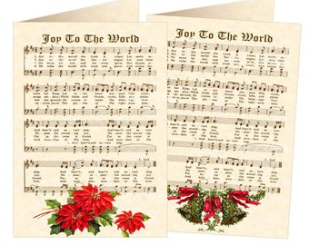 VINTAGE CAROL GREETINGS - Set of 6 Christmas Hymn Greeting Cards - Vintage Verses - Hymn On Parchment - Red Flowers - Birth Of Christ Advent