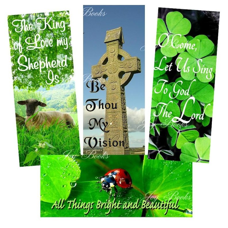 IRISH AUTHORS VintageVerses Hymn Bookmarks DIY Print It Yourself Digital  Download Christian Ministry Friendship Card Insert Celtic Shamrock