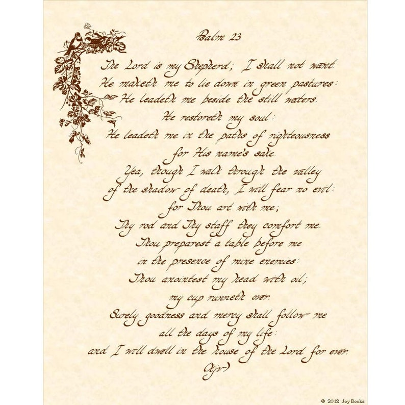 PSALM 23 KJV --- 11 X 14 Hand Written Calligraphy Art Print on Natural  Parchment in Sepia Brown Ink or Green