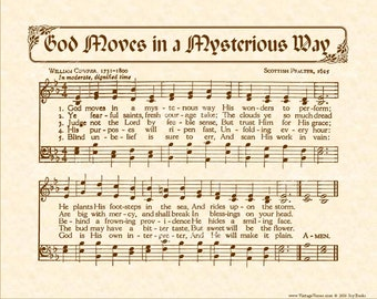 GOD MOVES In A MYSTERIOUS Way - Christian Home & Office Decor - Hymn Wall Art Parchment - Vintage Verses Sheet Music Wall Art- Inspirational