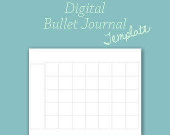 Monthly Calendar Template for Digital Bullet Journal Planner