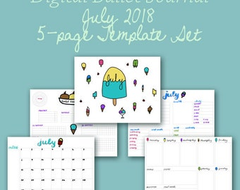 July Digital Planner Template Pages - Instant Download
