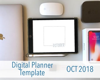 October Digital Planner for iPad - PDF, Goodnotes, Notability
