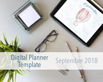 September Digital Planner for iPad - PDF, Goodnotes, Notability