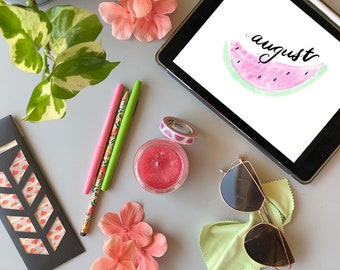 August Digital Bullet Journal Planner Template Pages for Instant Download - Watermelon Theme