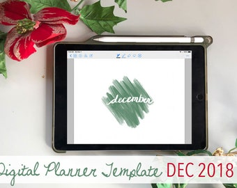 December Digital Bullet Journal Planner Template Set iPad - Modern Christmas Theme