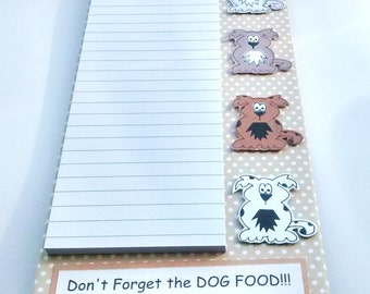 MagneticGrocery List Notepad - Dogs - Shopping List Holder - Magnetic Clipboard - Dog Lover Gift