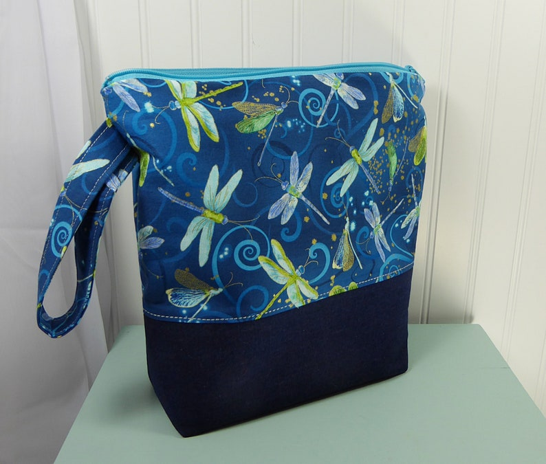 Dragonfly Project bag knitters gift gift for knitter WIP dragonfly bag Knitting bag with zipper