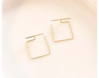 Ultra Modern - Minimal - Square Gold or Silver Plated Wire Earrings - Sleek and Sophisticated Trendy Geometric Style Earwires - Minimalist