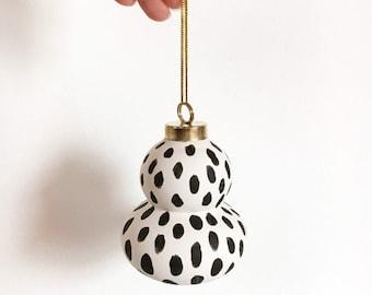 Modern Black & White Single Ornament | Hand Painted Bisque Ceramic Minimalist Christmas Ornaments
