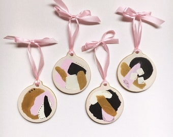 Modern Blush Pink, Black, White, and Gold Hand Painted Ornament Set   Chic Mid Century Style Bisque Ceramic Minimalist Christmas Decor