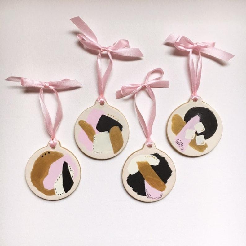 Modern Blush Pink Black White and Gold Ornament Set  Hand image 0