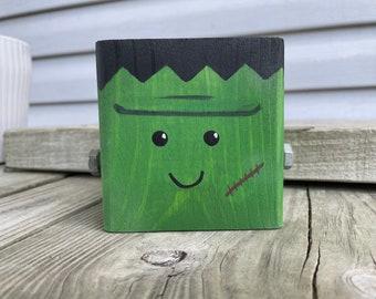 Cute Wood Frankenstein Halloween Decor | Modern Wooden Geometric Monster Shelf Sitter Accent