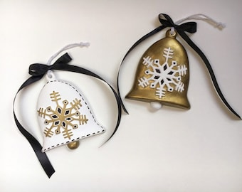 Modern Black, White, and Gold Bell Ornament Set - Hand Painted Bisque Ceramic Minimalist Christmas Ornaments with Ribbon