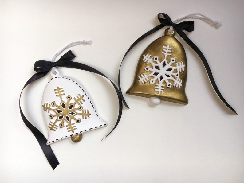 Modern Black White and Gold Bell Ornament Set  Hand Painted image 0