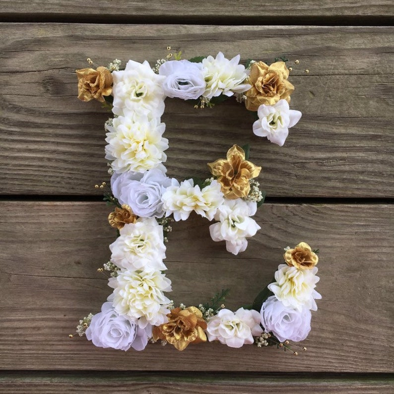White and Gold Flower Letter or Number Wall Hanging  Floral image 0